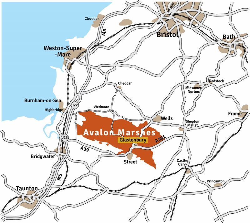 Avalon Marshes location map