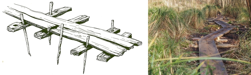 Meare Heath Trackway drawing & replica
