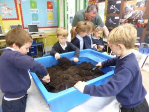 Peat dig tray in use