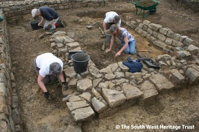 Image showing exposed foundations of the early Norman and late 13th century (possibly 1274 AD rebuild) chapel walls.