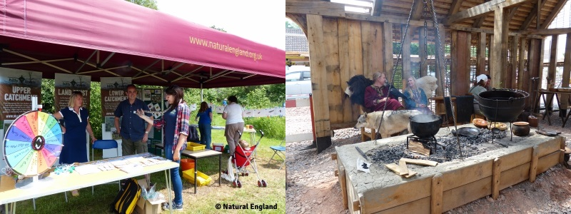 Combined image: Image 1 shows people at the 'Hills to the Levels' project stand and participating in the Avalon Marshes Open day 2016 . Image 2 shows an Anglo Saxon king re-enactor sat with a raven in the reproduction Anglo Saxon Long Hall at the Avalon Marshes Open Day.