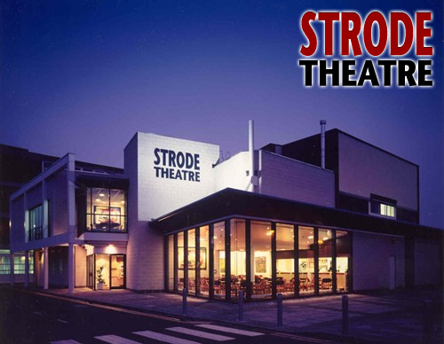 Picture of the front of Strode theatre at night