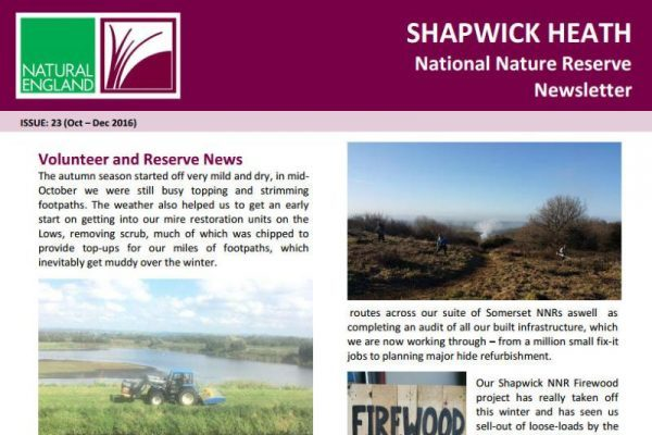 Front cover of Shapwick Heathh NNR issue 23