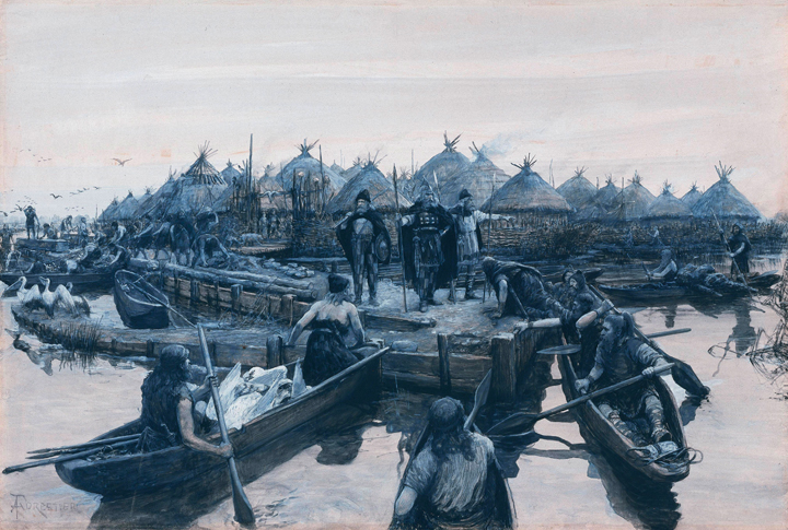 Painting of Glastonbury lake Village