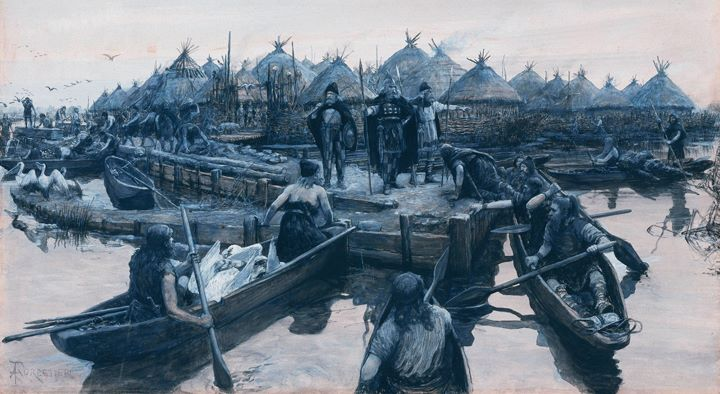 Painting of Lake Village by Amédée Forestier