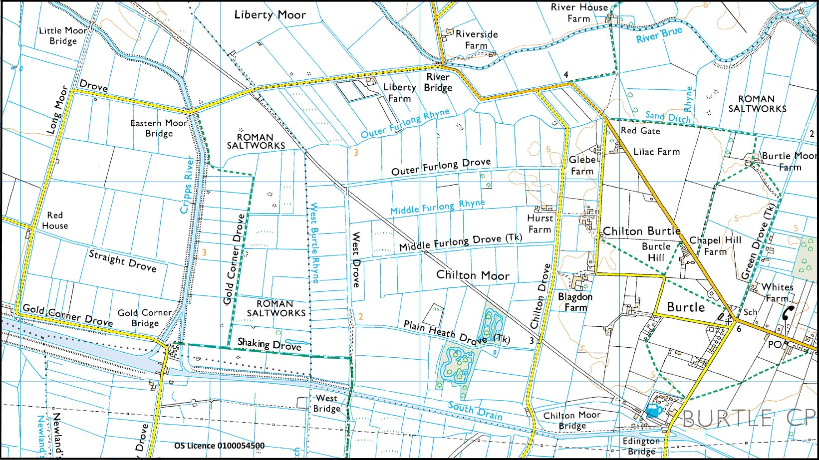 OS Map of Gold Corner and Burtle area