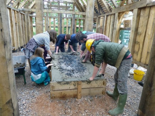 Young Wardens building Anglo Saxon fireplace