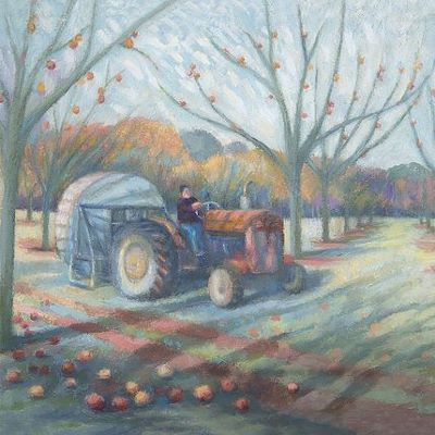 Painting of Tractor in Orchard