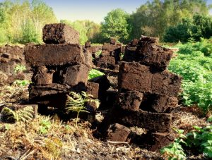 Stacked peat turves