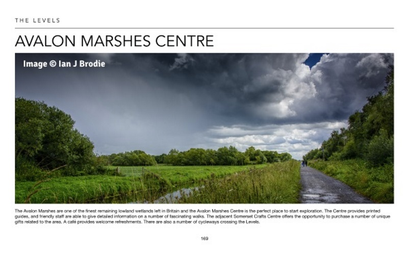 Page 169 of the Visit Somerset E-Book; image shows view looking down the South Drain on Shapwick Heath National Nature Reserve