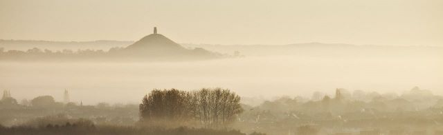Misty view towards Glastonbury